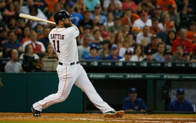 WATCH: Evan Gattis shows no mercy toward pitched baseball